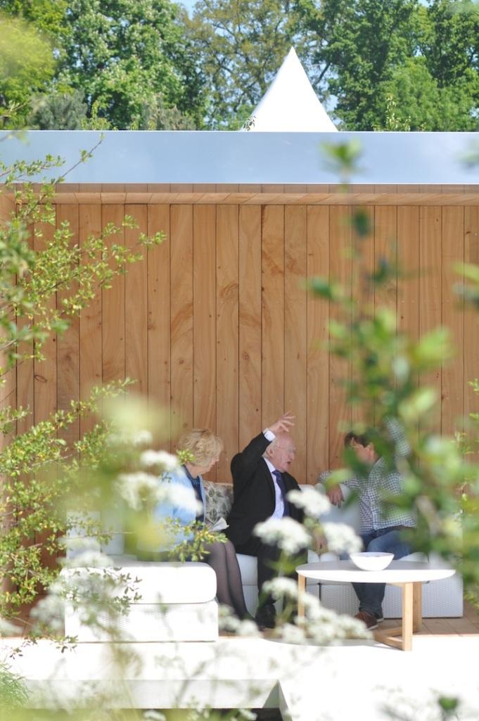 President and Mrs Higgins in Gerard Mullen's Bloom Show Garden. June 2013