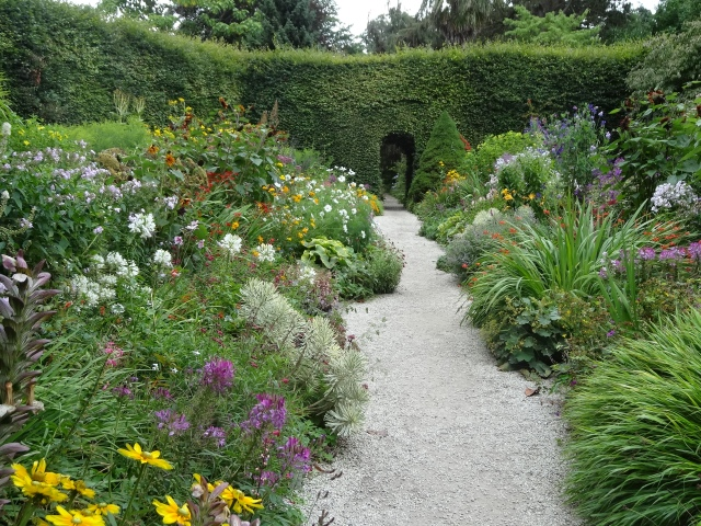 Herbaceous border at Mount Usher Gardens, Co Wicklow.