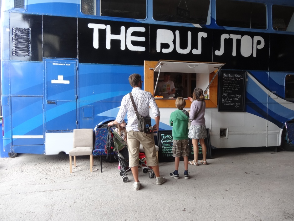 The Big Bus serving mini pizzas and more.
