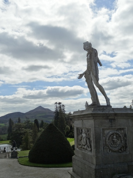 Classical statuary contrasting with the natural landscape of the Wicklow mountains