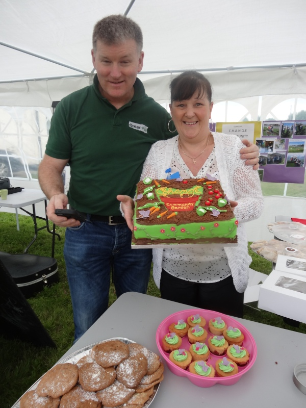 Elizabeth, with her wonderful cakes celebrating the opening of a new community garden in Crumlin, and Ciaran of www.greenvalu.ie