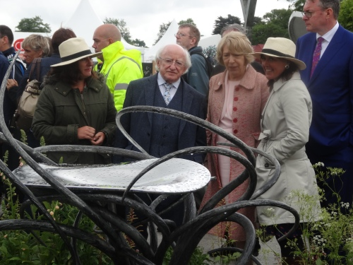 President and Mrs Higgins study 'Tree of Life' by John Hogan