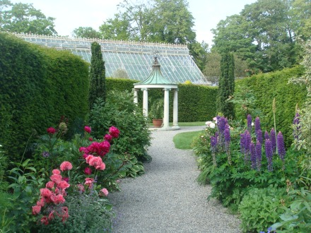 The double herbaceous borders and stone temple