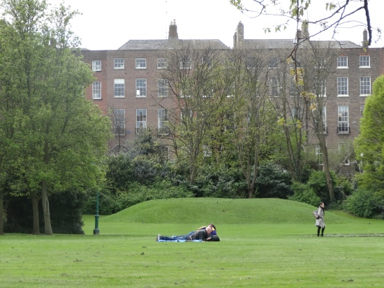 Relaxing in Merrion Square park - the mound visible in the background is an old WWII air raid shelter
