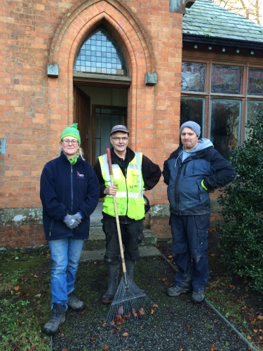 Head Gardener Noel Forde, centre, with Ger and Marcus in front of the old dairy