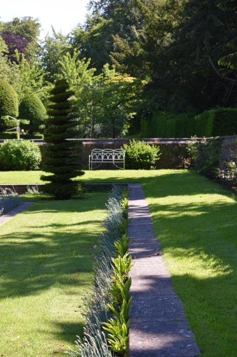 A garden bench beckons.