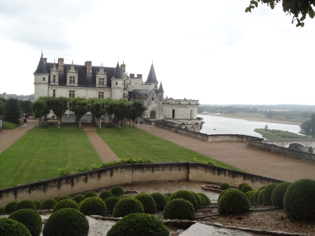 Château d'Amboise and the Loire river seen from the elevated gardens.