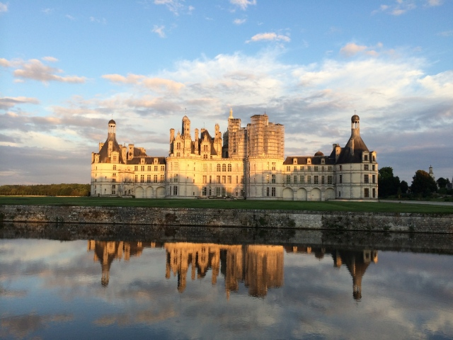 Chateau de Chambord at sunset.