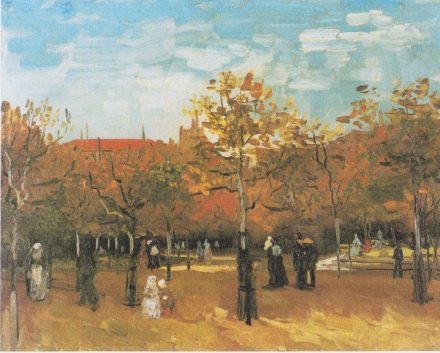 Van Gogh - The Bois_de_Boulogne with people walking.