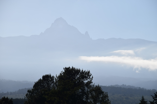 Mount Kenya emerging from the early morning mist.